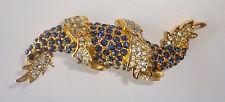 Cadoro PIN Brooch, Gold-Tone, Blue Rhinestones w/ Clear Crystals, Fish or Dragon