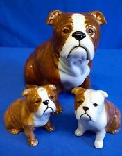 QUAIL CERAMIC BULLDOG BULL DOG MONEYBOX AND SALT & PEPPER GIFT SET
