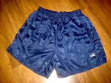 Vtg 80s 90s PUMA Navy Striped SOCCER Mens MEDIUM Nylon running athletic shorts M