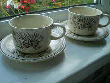 W H Grindley Pinewood Cups & Saucers x 2 British