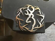 Plasma cut deer with antler ring cut out Metal Wall Art Home Decor