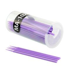 100Pcs Purple Disposable Eyelash Wands Swab Micro Brush Extension Makeup Tools