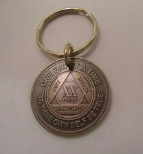 Alcoholics Anonymous AA 20 Year Bronze Keychain Medallion Token Coin Chip Sober