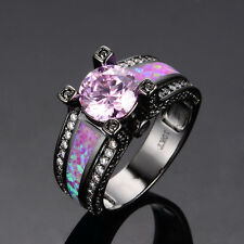 Pink Sapphire & Fire Opal Wedding Band Ring Black Gold Filled Jewelry Size 5-11