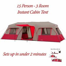 15 Person Tent 3 Room 25'x10' Split Plan Outdoor Red Instant Cabin Tent Camping