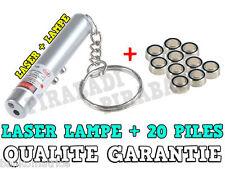 2 EN 1 POINTEUR LASER ROUGE AVEC LAMPE PORTE CLE PUISSANT + 20 PILES AG3 OFFERT