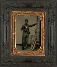 Photo Civil War Union Soldier In Uniform With Musket and American Flag