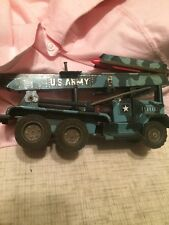 VINTAGE 1950's US ARMY ROCKET LAUNCHER TRUCK TIN FRICTION Made in Japan ALPS