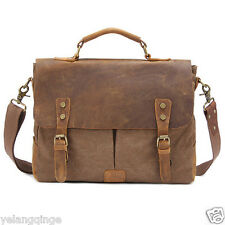 Genuine leather&canvas vintage men satchel bag shoulder messenger bag Coffee