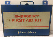 Vintage Metal Wall Mount Johnson & Johnson First Aid Emergency Kit 1980s Garage