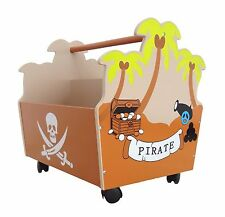 Bebe Style Pirate Wood Kids/Childrens Toy Box Storage Box on Wheels NEW