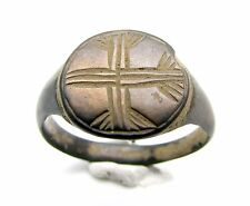 RARE MEDIEVAL/CRUSADERS ERA BRONZE SEAL RING WITH CROSS MOTIF ON BEZEL - F75