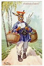 POSTCARD THIELE RABBIT POSTMAN NUMBER 40 DELIVERS FOR EASTER  T.S.N. 1240