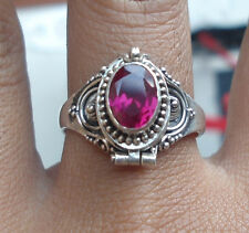 ATR04-925 Sterling Silver Balinese Poison/Locket Ring With Ruby Size 9-