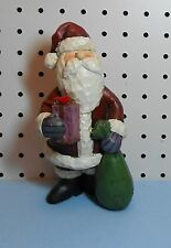 SANTA CLAUS FIGURINE - HOLDING A GIFT AND GIFT BAG - SOLID RESIN