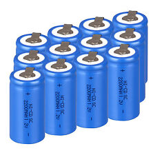 Pro 12PCS Blue Rechargeable Battery Sub C SC 1.2V 2200mAh Ni-Cd Batteries & Tap