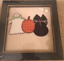 "Primitive Halloween Ghost, Cat, Pumpkin Cloth Picture 7""x7"" New"