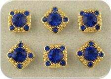 "2 Hole Beads ""Stardust Gala"" Sapphire Blue Swarovski Crystal Elements GOLD QTY 6"