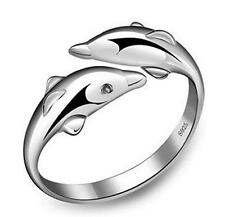 wholesale Jewelry New 925 Silver Fine Dolphin Rings Tail ring Adjustable Size