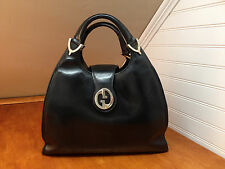 GUCCI Rare Vintage Authentic 1973 Black Stirrup Tote Top Handle