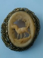 Victorian Carved Bovine Bone & Pinchbeck Brooch - Hunting Dog In Woodland Scene