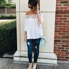 New Bohemian Off the Cold Shoulder White Lace Drapped Hippie Blouse Top - Small