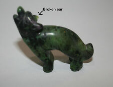 "Gemstone HOWLING WOLF carved from Zoisite  31gr 2""x2""  B6"