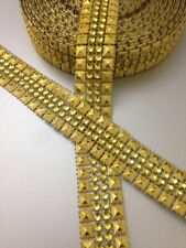 GOLD STUD / DIAMANTE EFFECT RIBBON TRIM, WEDDING,CRAFT, 1 Yard/2.5 cm Approx