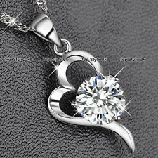 Round Diamond Heart Pendant Necklace Crystal Silver 925 Xmas Gifts for Mum WE1