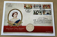 175 YEARS OF CORONATION ANNIVERSARIES 2013 MERCURY COVER WITH GUERNSEY £5 COIN
