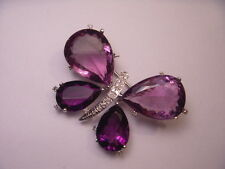 Gorgeous 14K White Gold Diamond African Amethyst Butterfly Pendant Brooch Pin