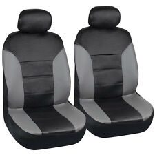 Motor Trend PU Leather Car Seat Covers Black Leatherette w/ Gray Panel Sides 2pc