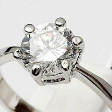 18K WHITE GOLD ON SILVER PERFECT CUT 1.5 CARAT SIMULATED MOISSANITE RING_SIZE 8