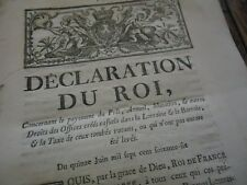 DECLARATION DU ROI PAYEMENT DROITS OFFICES LORRAINE & BARROIS 1766