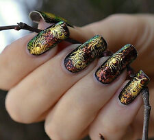 Cute LADE Gold Peacock Feather nail Stickers Decals Nail Art tip decoration f f