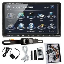 """7""""Double 2Din In Dash Car Stereo DVD Player Bluetooth IPOD TV Radio RDS+Cam"""