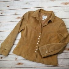 Live A Little Camel 100% Suede Jacket Women's L Snap Front Washable Fully Lined