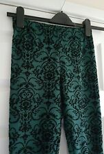 Primark Atmosphere bottle green & black raised velvet floral patteren leggings