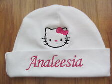 PERSONALIZED MONOGRAM CUSTOM White Infant Baby Beanie Hat Cap Hello Kitty GIFT!