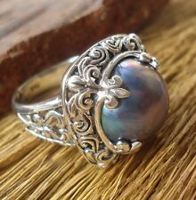 925 Sterling Silver-LH118-Balinese Hand Made Ring Grey Mabe Pearl Size 9