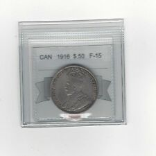 **1916**,Coin Mart Graded Canadian Silver 50 Cent, **F-15**