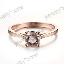 Solid 10K Rose Gold 100% Genuine Morganite Engagement Wedding Solitaire Ring