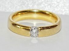 18ct Yellow Gold 0.25ct Diamond 4mm Wedding Band Ring - size K (Heavy 5.4 grams)