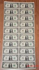 $1 UNCUT SHEET 1x20 ONE DOLLAR BILLS 2013 UNITED STATES CURRENCY MONEY BEP NEW