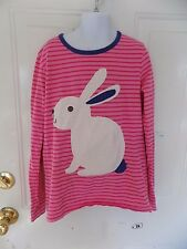 MINI BODEN PINK STRIPED  LONG SLEEVE BUNNY SHIRT SIZE 11/12Y GIRL'S EUC