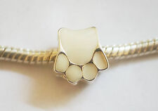 Metal Enamel White Pet Cat Dog Paw Charm Bead for European/Charm Bracelet - 10mm