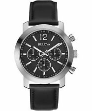 Bulova Men's 96A159 Chronograph Quartz Black Leather Strap Watch
