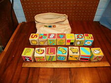 Vintage ABC Wood Alphabet Blocks w Cotton Bag                                  +