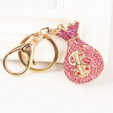 New Wallet Moneybag Purse Charm Pendent Pink Crystal Handbag Key Ring Chain Gift