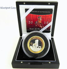 2014 YEAR OF THE HORSE GILDED HIGH RELIEF LUNAR Silver Proof Coin